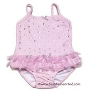 Kate Mack Baby / Toddler Girls Pink Silver Splash Two Piece Swimsuit