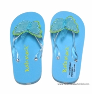Kate Mack Girls Butterfly Ballet / All Aflutter Flip Flops - Aqua BLUE