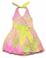 Kate Mack Girls Coral Pink / Lime Green Palm Beach Print Halter Bubble Sun Dress