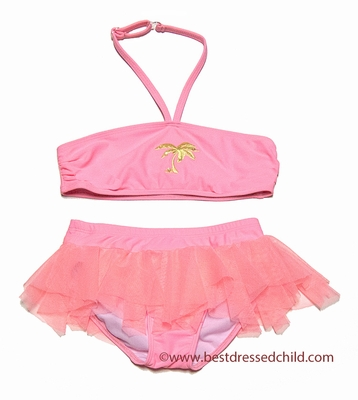 Kate Mack Girls Coral Pink Palm Beach Skirted Bikini Bathing Suit