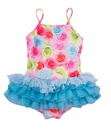 Kate Mack Girls Hula Flowers Blue Ballerina Tulle Skirted Floral Swimsuits