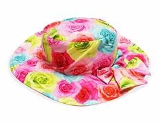 Kate Mack Girls Hula Flowers Pink / Blue / Yellow Floral Sun Hats