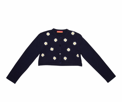 Kate Mack Girls Navy Blue Daisy Chain Cardigan Sweater - Daisies on Front