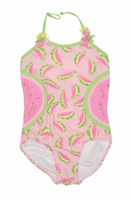 Kate Mack Girls Pink / Green Wild Watermelon One Piece Swimsuit