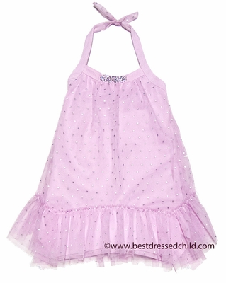 Kate Mack Girls Pink Silver Splash Halter Dress