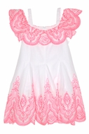 Kate Mack Girls Tropical Mermaid White / Coral Embroidery Off the Shoulder Dress