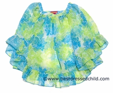 Kate Mack Girls Turquoise Blue / Green Tropical Toile Chiffon Cover Up