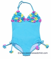 Kate Mack Girls Turquoise Blue Hula Flowers Halter One Piece Swimsuit