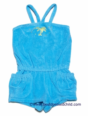 Kate Mack Girls Turquoise Blue Terry Cloth Shorts Romper