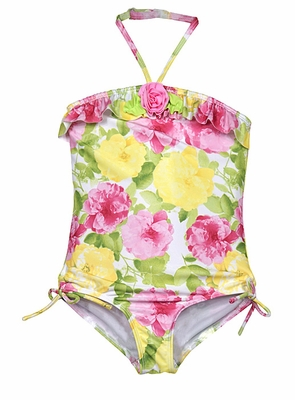 56f529b4b39cc Kate Mack Girls Yellow / Pink Floral Radiant Roses One Piece Swimsuit