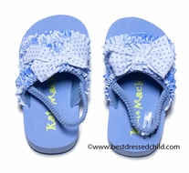 Kate Mack Infant / Toddler Girls Blue Coney Island Pool Shoes with Strap