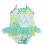 Kate Mack Infant / Toddler Girls Blue / Green Tropical Two Piece Swimsuit