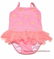 Kate Mack Infant / Toddler Girls Coral Pink Palm Beach Embroidered Two Piece Swimsuit