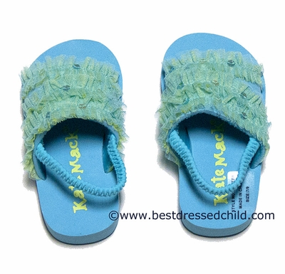 Kate Mack Infant / Toddler Girls Turquoise / Green Tropical Beach Sandals with Strap