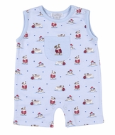 Kissy Kissy Baby Boys Blue Burly Bulldogs Print Short Playsuit Romper with Pocket