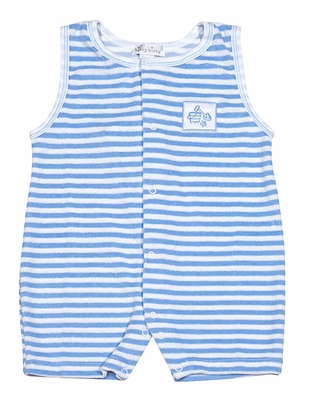 Kissy Kissy Baby Boys Blue Down The Shore Short Playsuit - Striped Terry
