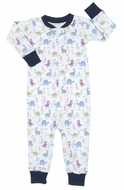 Kissy Kissy Baby Boys Blue Downtown Dinosaurs Print One Piece Pajamas with Zipper
