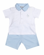 Kissy Kissy Baby Boys Blue Easter Bunny Patch Bermuda Shorts Set with Collar