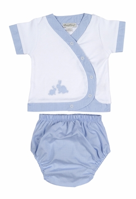 Kissy Kissy Baby Boys Blue Gingham Cottontail Easter Bunny Diaper Set