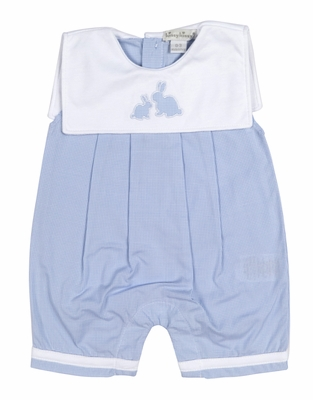 Kissy Kissy Baby Boys Blue Gingham Cottontail Easter Bunny Romper