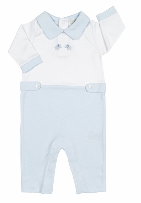 Kissy Kissy Baby Boys Blue Petite Pals Elephant Romper with Collar