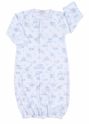 Kissy Kissy Baby Boys Blue Polka Dots Cars & Trains Convertible Gown