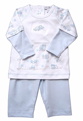 Kissy Kissy Baby Boys Blue Polka Dots Cars & Trains Pants Set