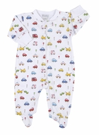 Kissy Kissy Baby Boys Blue / Red Rush Hour Cars Print Zipper Footie