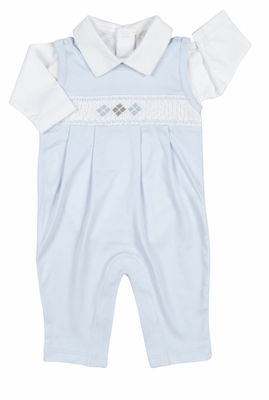 Kissy Kissy Baby Boys Blue Smocked Argyle Longall Set