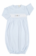 Kissy Kissy Baby Boys Blue Smocked Argyle Sack Gown