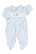 Kissy Kissy Baby Boys Blue Smocked Argyle Velour Footie