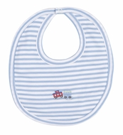 Kissy Kissy Baby Boys Blue Stripe Embroidered Train Bib