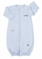 Kissy Kissy Baby Boys Blue Stripe Embroidered Trains Converter Gown