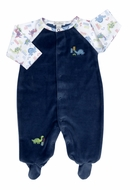 Kissy Kissy Baby Boys Blue Velour Downtown Dinosaur Footie