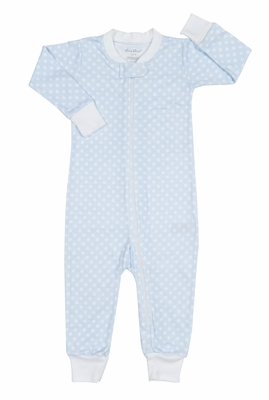 Kissy Kissy Baby Boys Blue / White Delectable Dots Zip Front Pajamas