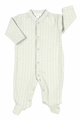 Kissy Kissy Baby Boys Cable Couture Jacquard Footie - Silver Gray