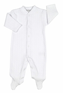 Kissy Kissy Baby Boys Cable Couture Jacquard Footie - White