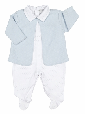 Kissy Kissy Baby Boys Cable Couture Jacquard Jacket / Footie Set - Blue