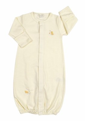Kissy Kissy Baby Boys / Girls Ducky Duo Convertible Gown - Striped - Yellow