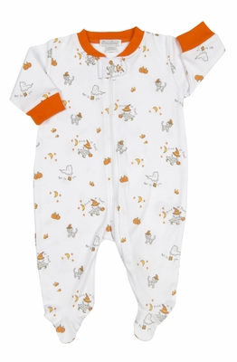 kissy kissy baby boys girls orange trick or treat halloween pumpkin print footie with zipper