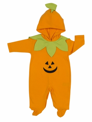 Kissy Kissy Baby Boys / Girls Orange Trick or Treat Halloween Jack 'O Lantern Footie with Hood