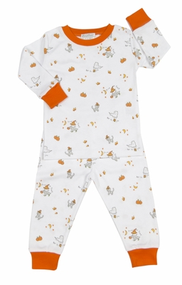 kissy kissy boys girls orange trick or treat halloween pumpkin print pajamas