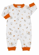 Kissy Kissy Baby Boys / Girls Orange Trick or Treat Halloween Pumpkin Print Pajamas with Zipper