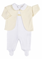 Kissy Kissy Baby Boys / Girls White Footie - Yellow Chick - Striped Jacket
