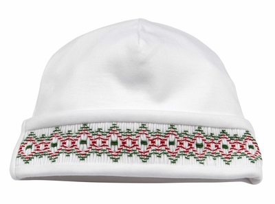 Kissy Kissy Baby Boys / Girls White Hat Smocked in Red for Christmas