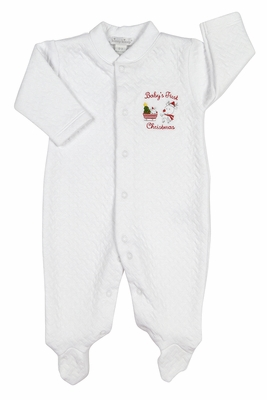 Kissy Kissy Baby Boys / Girls White Jacquard First Christmas Footie