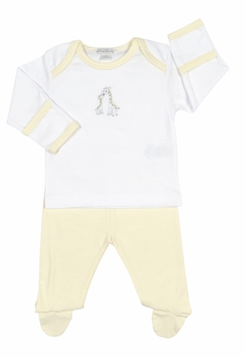 Kissy Kissy Baby Boys / Girls Yellow Striped Giraffe Generations Footed Pant Set