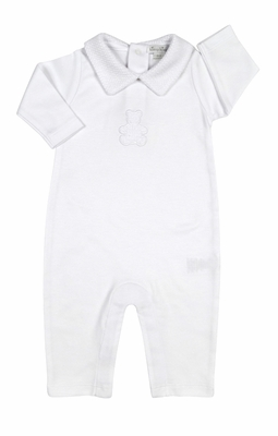 Kissy Kissy Baby Boys / Girls Honey Bear Cub Playsuit with Collar - White