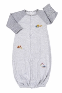 Kissy Kissy Baby Boys Gray Striped Construction Trucks Zone Converter Gown