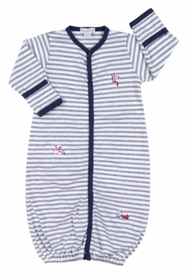 Kissy Kissy Baby Boys Gray Stripes / Navy Blue Game Day Football Jersey Convertible Gown